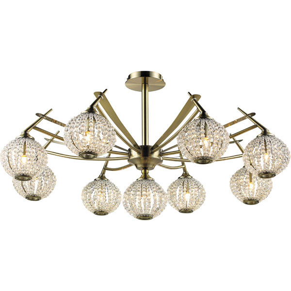 Потолочная люстра N-Light N-Light 917 917-09-53 antique brass + white crystal фондурин 917